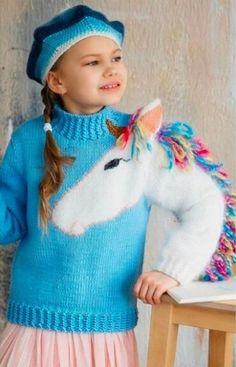 Unicorn Knitting Pattern, Baby Booties Knitting Pattern, Kids Knitting Patterns, Baby Sweater Patterns, Baby Sweater Knitting Pattern, Knitting For Kids, Knitting Designs, Girls Sweaters, Baby Sweaters