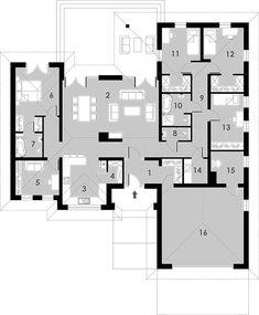 Rzut parteru projektu Madera House Plans One Story, Family House Plans, New House Plans, Home And Family, Piscina Interior, Bungalow House Design, 3 Bedroom House, Architect House, Interior Exterior