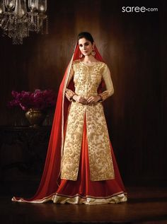 CREAM RAW SILK SUIT WITH EMBROIDERY WORK