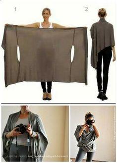 DIY Bina Brianca Wrap. It can be worn as a scarf, cardigan, poncho, blouse, shrug, stole, turtleneck, shoulder scarf, back wrap, tunic and headscarf.