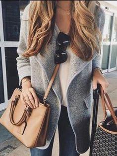 Gray Waterfall Front Pocket Chunky Knit Coat