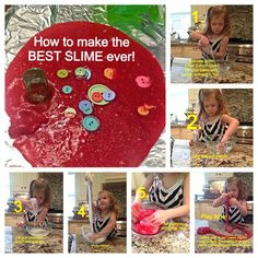How to make the BEST SLIME ever! Borax-free, step-by-step DIY. My kids play for HOURS with this stuff! Great sensory play!