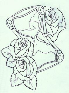 Skull Flowers And Hour Glass Tattoo Designs photo - 4