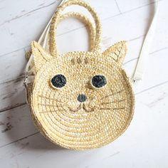 little cat handbag - ahgaga - Panier en osier chat =♡.♡=