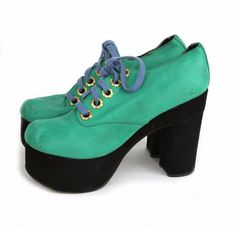 True Vintage 1970s Ladies Green Leather Upper Black Suede Platform Oxford Shoes #MadeInItaly #Platform #Casual