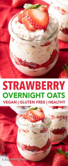 Strawberry Overnight Oats Recipe (Vegan, Healthy) - Beaming Baker
