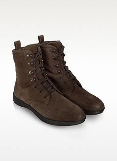 $470, Dark Brown Suede Lace Up Ankle Boot by Moreschi. Sold by Forzieri. Click for more info: http://lookastic.com/men/shop_items/48157/redirect