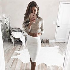 ✨ @WindsorStore #windsorgirl Details ↓ 'Ivory Boss Lady Skirt' 'Gold Festive Daze Sweater'