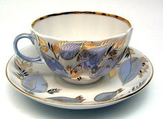 Vintage Stuff Moonlight Cup and Saucer from the Lomonosov Porcelain Factory - Exceptional porcelain from Russia enhanced with liberal amounts of silver and gold in the Moonlight pattern Tea Cup Set, My Cup Of Tea, Tea Cup Saucer, Tea Sets, Vases, Antique Tea Cups, Teapots And Cups, Teacups, Tea Service