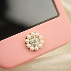 1PC Bling Crystal Pearl Flower Apple iPhone Home Button Sticker for Phone Charm. $4.99, via Etsy.