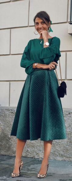 Own the velvet trend this season with this quilted skirt version in a festive holiday green. Fancy Sheen Quilted Velvet Skirt featured by Cristinasurdu Blog