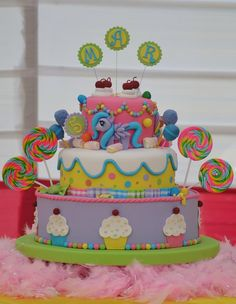 Candyland & My Little Pony Cake! - Cake by Tress Cupcakes My Little Pony Party, My Little Pony Cupcakes, Crazy Cakes, Kids Party Treats, Girl Cakes, Cake Creations, Candyland, Cake Decorating, 4th Birthday