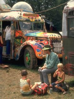 Man Seated with Two Young Boys in Front of a Wildly Painted School Bus, Woodstock Music Art Fest-John Dominis-Mounted Photographic Print 1969 Woodstock, Woodstock Hippies, Woodstock Festival, Woodstock Music, Joe Cocker, Janis Joplin, Country Joe Mcdonald, Grateful Dead, Jimi Hendrix