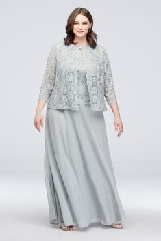 Three-Piece Plus Size Skirt and Lace Cardigan Set Style Sage - Plus Size Skirts - Ideas of Plus Size Skirts Mother Of Groom Dresses, Mother Of The Bride Dresses Plus Size, Plus Size Looks, Plus Size Skirts, Plus Size Lace Dress, Lace Cardigan, Mom Dress, Necklines For Dresses, Chiffon Skirt