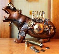 Steampunk Tendencies   Hippopotamus by Aleksandr Mushkina & Alena Mushkina  #Sculpture #Steampunk #Hippo
