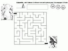 Maternelle: Calinours va à l'école : labyrinthe