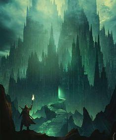 Fantasy Village, Fantasy City, Dark Fantasy Art, Fantasy Artwork, Fantasy Places, Gothic Landscape, Fantasy Landscape, Eldritch Horror, Eldritch Moon