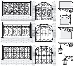 Set of iron wrought fences, gates, signboards and lanterns with decorative ornaments Vector illustration photo Grill Design, Fence Design, Metal Garden Gates, Iron Balcony, Stone Planters, Sign Image, Steel Fence, Iron Gates, Iron Fences