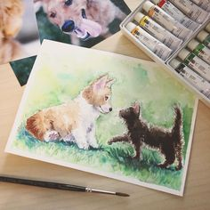 For all the animal lovers out there-- happy national puppy day and cuddly kitten day everyone! . Created by Heidi with Holbein watercolors! . #nationalpuppyday #cuddlykittenday #holbein #jetpensdemo #animalart #watercolorpainting #dogart #catart