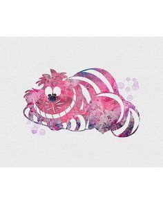 Cheshire Cat Alice in Wonderland Watercolor Art