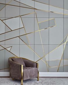Moscow Apartment with Gold Geometric Wall Design Interior Walls, Home Interior Design, Interior Architecture, Interior Decorating, Wall Panel Design, Beton Design, Wall Finishes, Wall Cladding, Creative Walls