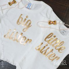 Big and Little Sister Bodysuit or Shirt with Gold Metallic Cursive Letters on Etsy, $20.00