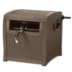 Suncast Resin Hose Hideaway with Hose Guide - Durable Outdoor Hose Storage Reel with Crank Handle, Lid, and Slide Trak Hose Guide - Hose Capacity - Mocha Wicker Garden Hose Reel Cart, Garden Hose Storage, Hose Box, Hose Holder, Water Garden, Lawn And Garden, Beach Cart, Spray Paint Furniture, Painting Furniture