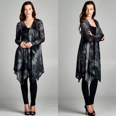 """The Alchemist"" Long Cardigan Semi loose fit, long sleeve, open closure cardigan. Has an asymmetrical hem. Lightweight tie dyed fabric. Drapes well and good stretch. 95% polyester, 5% spandex. Brand new Bare Anthology Jackets & Coats"