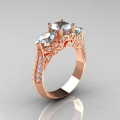 Classic 14K Rose Gold Three Stone Diamond Aquamarine di artmasters, $1359.00