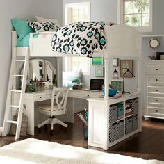 loft bed w/ built in vanity, book shelves and study area; wooden swivel chair w/ cushion.