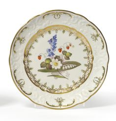 A Swansea Porcelain Plate, circa 1820, painted by William Pollard with a bouquet of flowers and strawberries within a gilt scroll and diaper border, the scroll moulded rim with gilt and green foliate scrolls, red stencil mark, - See more at: http://www.tennants.co.uk/Catalogue/Sale251/page3.aspx#sthash.iTcsGxte.dpuf