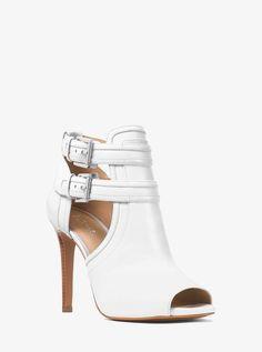 908ca32d00a1 Michael Michael Kors Blaze Open-Toe Leather Bootie - Optic White Ankle Boots  Open Toe