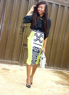 blackfashion:  Grace Alex, Nigeria, 20 top: Trining, Skirt: Ankara, shoe: Qupid http://gafashion.blogspot.com