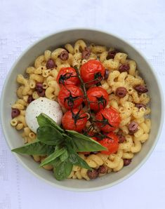 Ingredients for a Beautiful Life!Pasta With Olives, Truss Tomatoes And Buffalo Mozzarella
