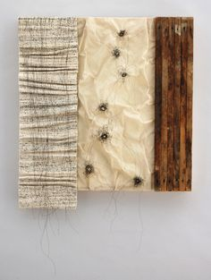 Words I Should Have Said Hand spun and woven Japanese text, encaustic, fabric, horse hair and found wood 20 x 18 x 2 3/8 inches