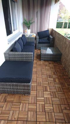 Gartenmöbel Set Tisch, Bank und 4 Sessel Rattan Polyrattan Geflecht ...