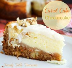 Carrot Cake Cheesecake – Family Table Treasures 33 Easter Dinner Recipes Large Batch Party Food – Inexpensive Snacks For Large Groups and Big Crowds – Carrot Cake Topping, Carrot Cake Cheesecake, Cheesecake Recipes, Dessert Recipes, Easter Cheesecake, Carrot Cakes, Cheesecake Cupcakes, Mini Cupcakes, Carrot Recipes