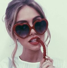 Oversize red plastic heart sunglasses