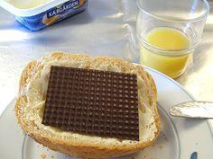 42. Denmark - pålægschokolade - chocolate-flake on buttered bread.