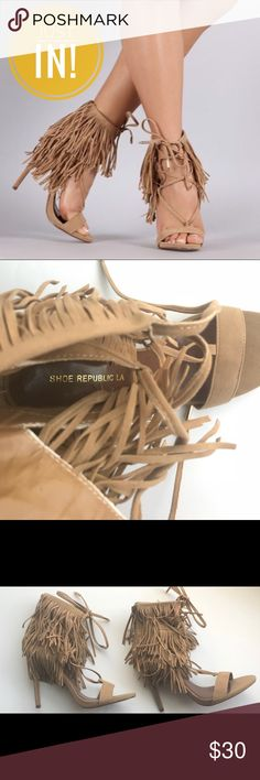 "Shoe Republic LA Fringe Lace Cuff Open Toe Heel THESE FRINGE LACE CUFF OPEN TOE HEELS ARE A MUST HAVE FOR THIS SEASON!!!  🔹SIZE 8 🔹(Pre-Owned) Minimal wear on heel bottom  🔹SHOE COLOR: Camel Brown 🔹HEEL HEIGHT (APPROX) 4"" 🔹FIRM PRICED👍🏽 🔹SAME DAY OR NEXT DAY SHIPPING 📦  THANKS FOR SHOPPING IN MY CLOSET 😊 HAPPY POSHING! Shoe Republic LA Shoes Heels"