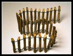 Miniature Wooden Post Fence - need a small gauge wire, twigs, and tools ********************************************