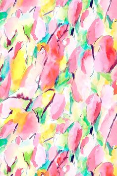 Synesthete Spring by mjmstudio - Hand painted watercolor in yellow, green, turquoise, pink, and maroon on fabric, wallpaper, and gift wrap. Beautiful abstract painting design.
