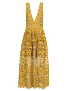 Yellow Plunge Neck High Waist Lace Dress