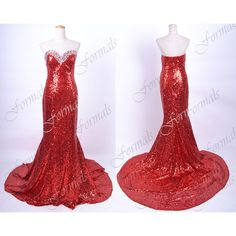 Mermaid Strapless Sequined Long Red Prom Dresses, Sequined Red Evening... ($169) ❤ liked on Polyvore featuring dresses, long red dress, formal prom dresses, red prom dresses, long dresses and formal dresses