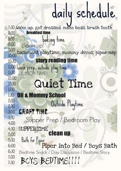 Daily routine (super nanny style)