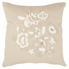 """Adorned with elegant floral details, this cotton sateen pillow brings a lovely touch to your settee or bed.   Product: Set of 2 pillowsConstruction Material: 100% Cotton sateen cover and feather fillColor: BeigeFeatures: Floral motifInserts includedDimensions: 18"""" x 18"""""""