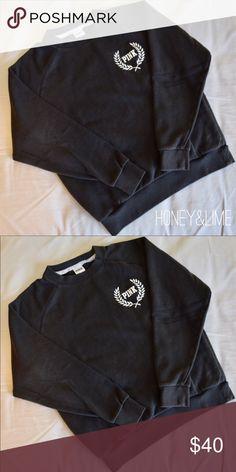 Dark Gray Pink Sweatshirt Pink | dark gray | crew neck sweatshirt | super soft PINK Victoria's Secret Tops Sweatshirts & Hoodies