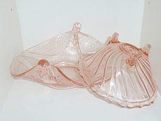 Vintage pink depression glass