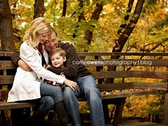 Sweet family of 3 photo on bench