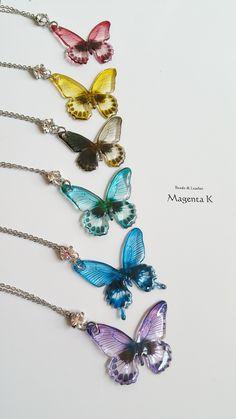 ※9/2新色追加※7 color clear butterfly necklace